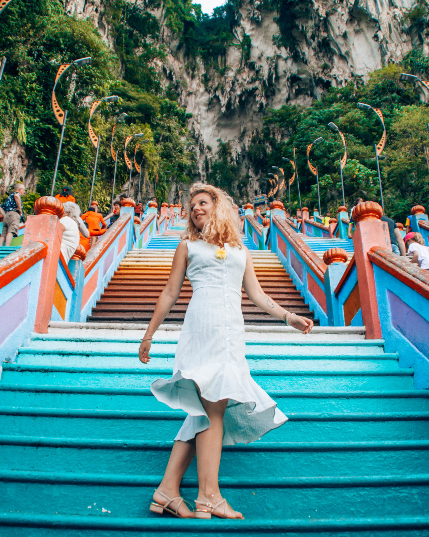 The 272 colorful steps of the Batu Caves hindu temple in Kuala Lumpur