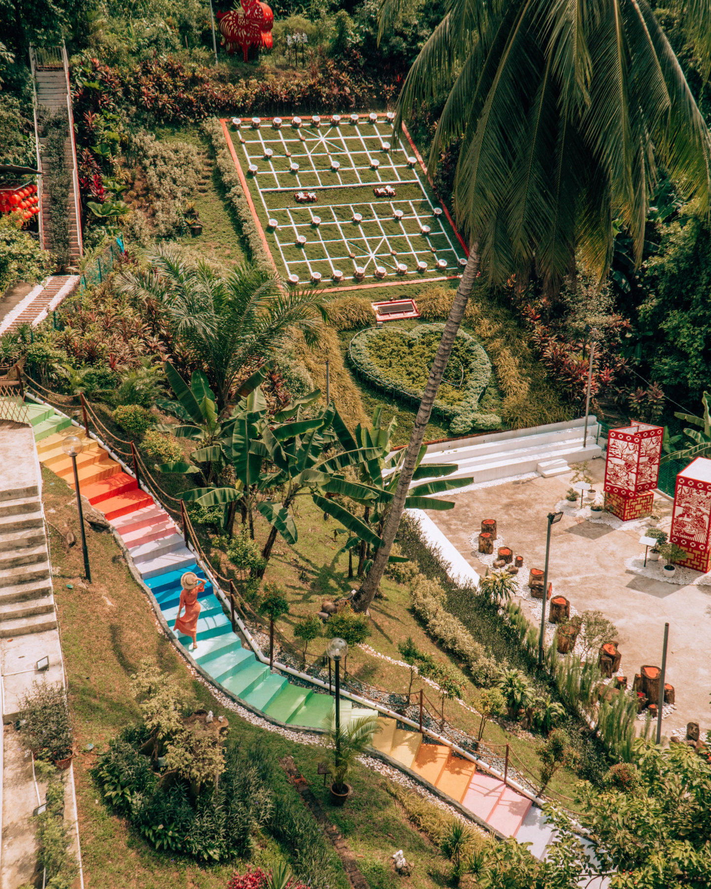Colorful stairs at Thean Hou Temple in Kuala Lumpur