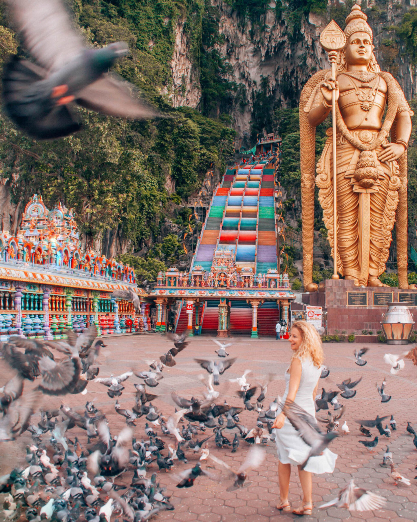 Instagram picture with the birds in Batu Caves