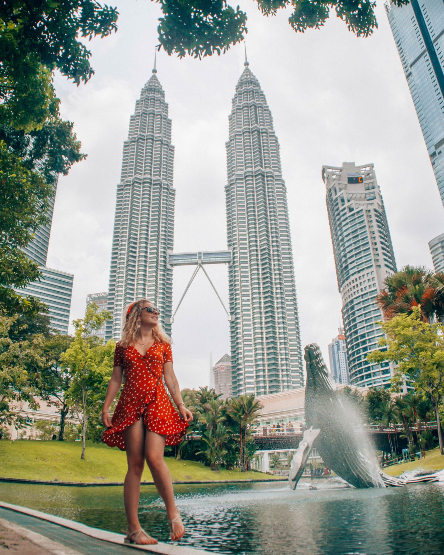 View on the Petrona Towers from KLCC Park in the center of the Malaysian capital
