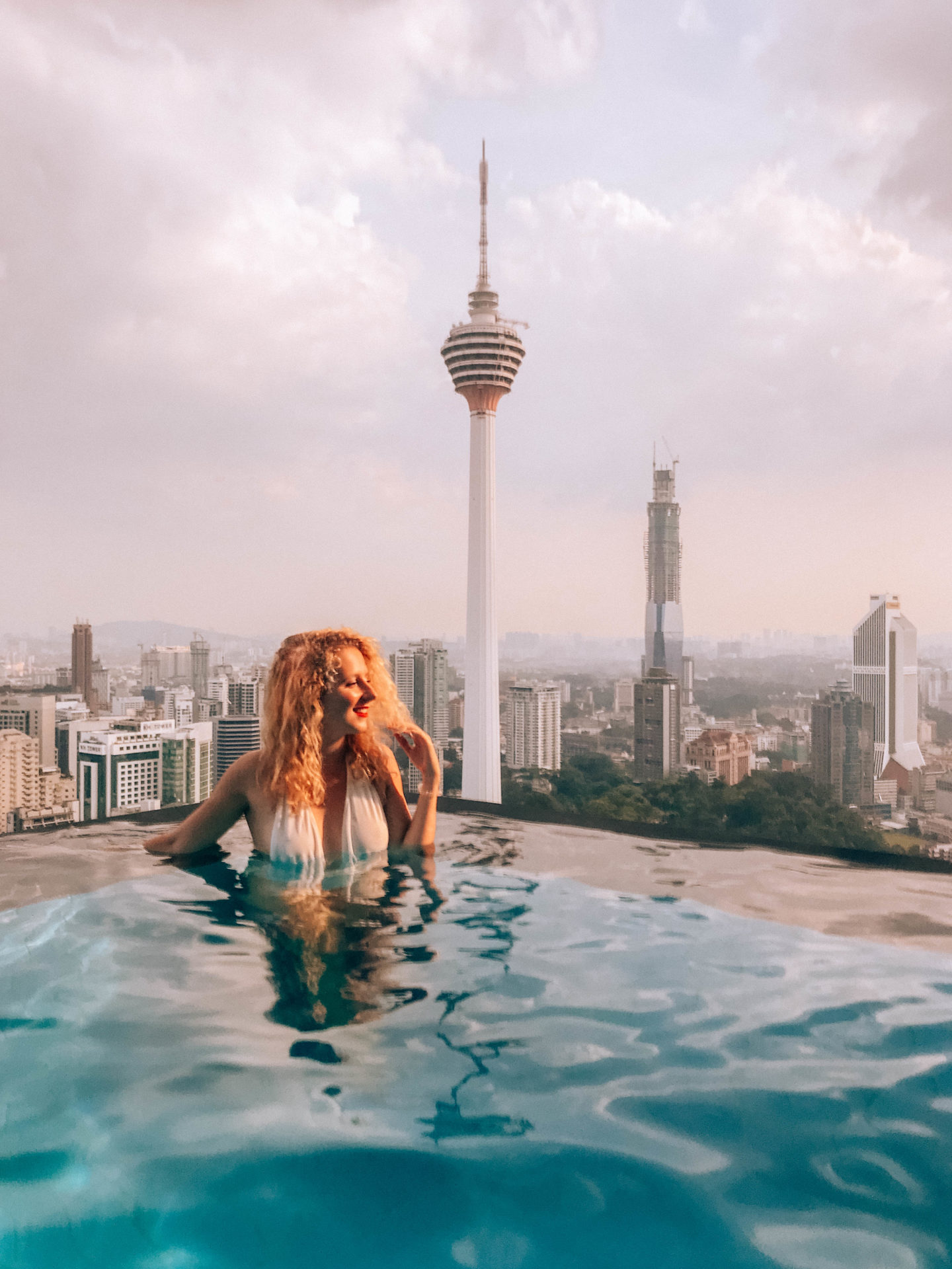 Best view of Kuala Lumpur skyline from a rooftop pool
