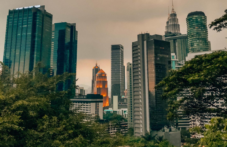 View on Kuala Lumpur skyline by night