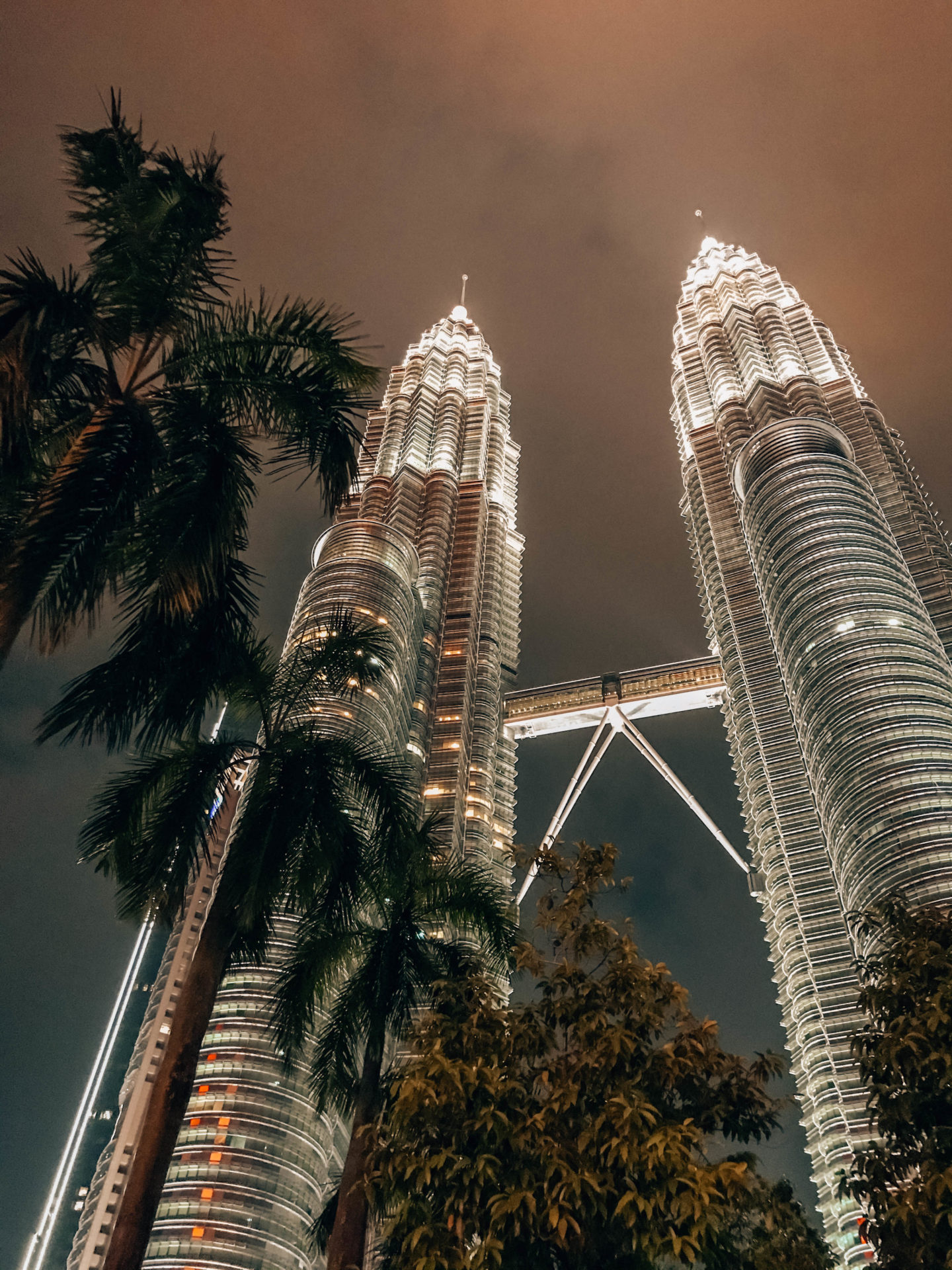Petronas towers by night in Kuala Lumpur