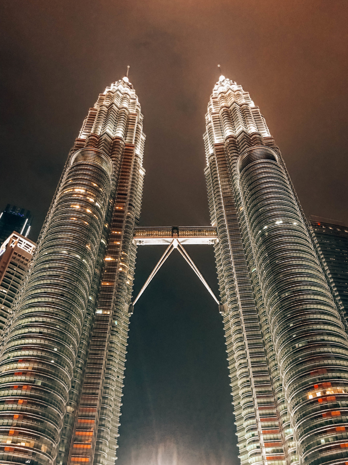 The twin towers by night in Kuala Lumpur