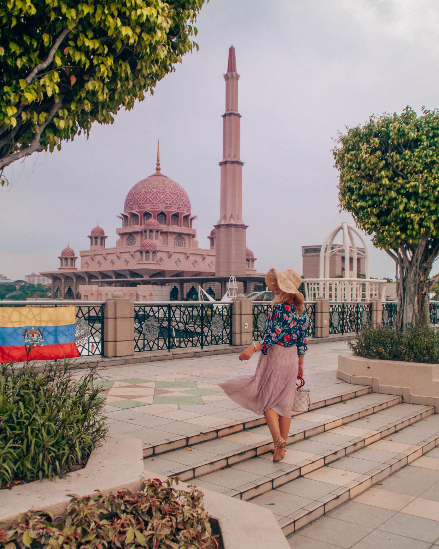 The pink Putra mosque view in Putrajaya near Kuala Lumpur