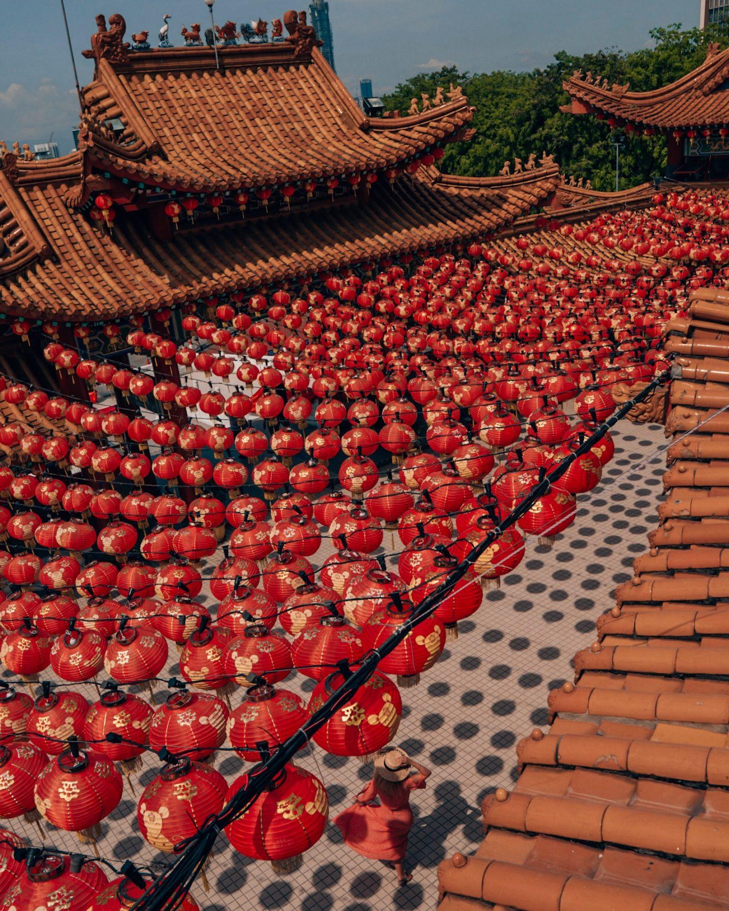 Red lanterns of Thean Hou Temple in Kuala Lumpur