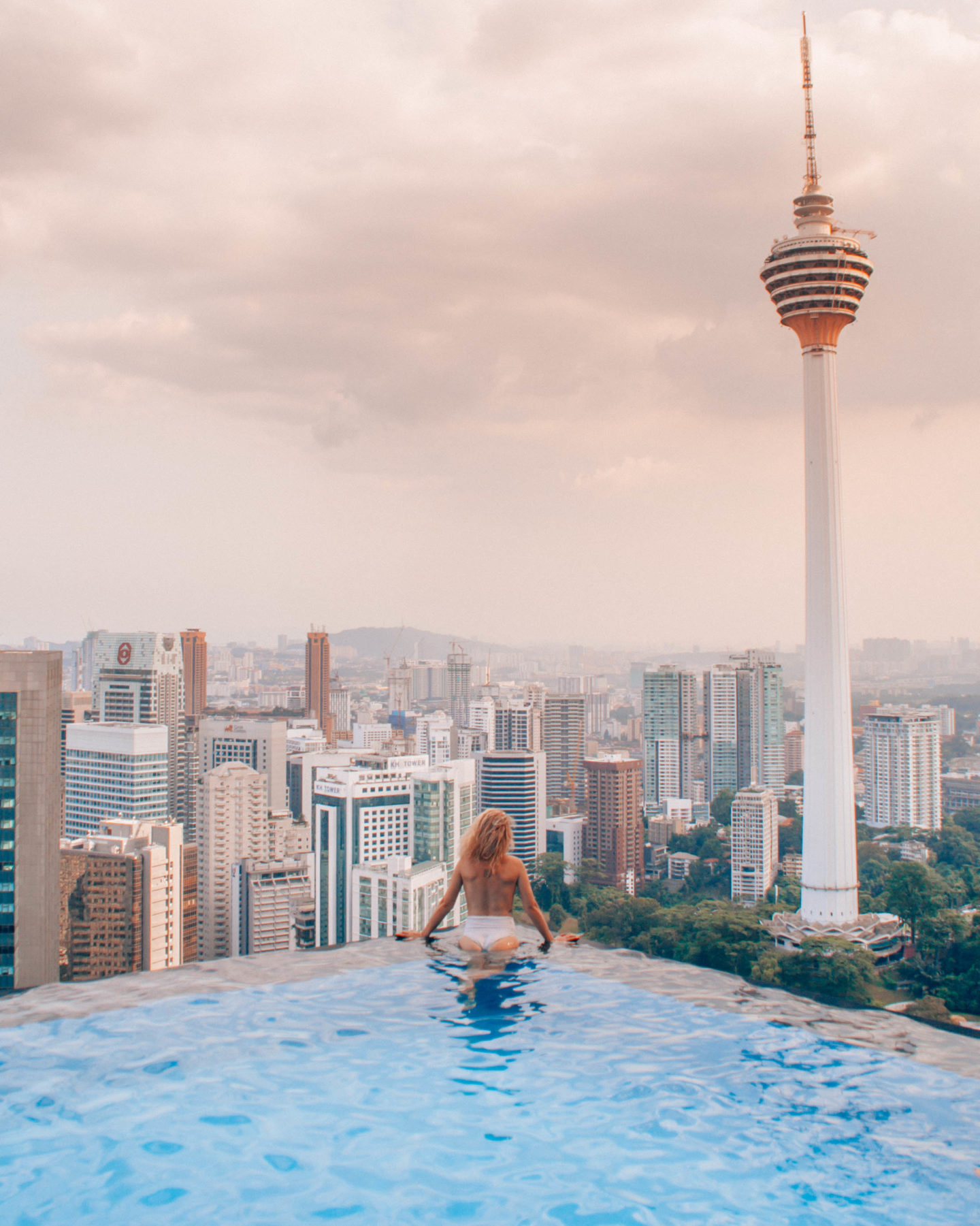 Skyline view from an hotel rooftop pool in Kuala Lumpur