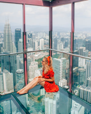 View from the skybox glass cube on top of KL Tower