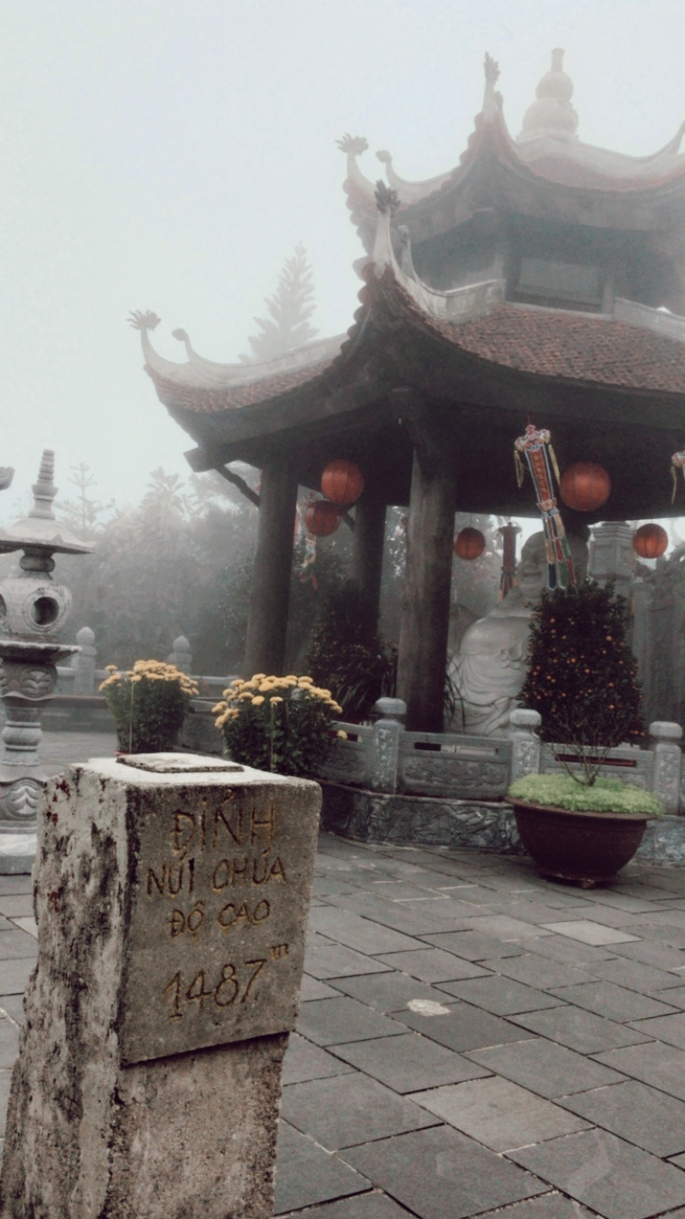 Misty morning in a buddhist temple, at the Ba Na Hills