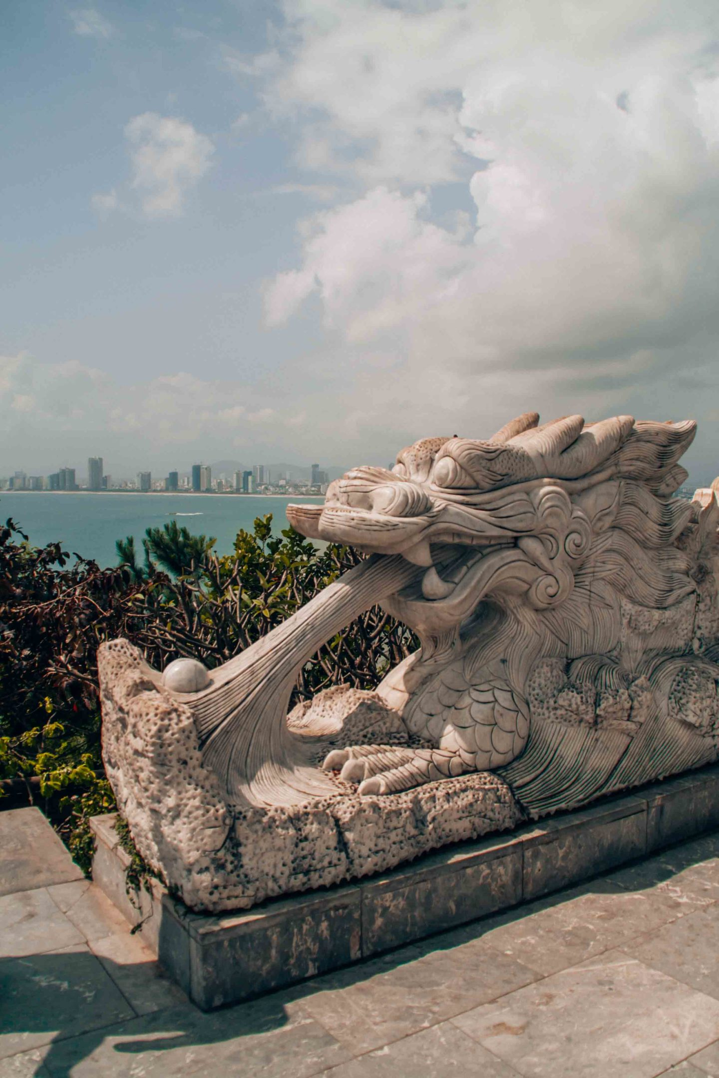 Dragon representation in front of Lady Buddha with view on the sea, Da Nang