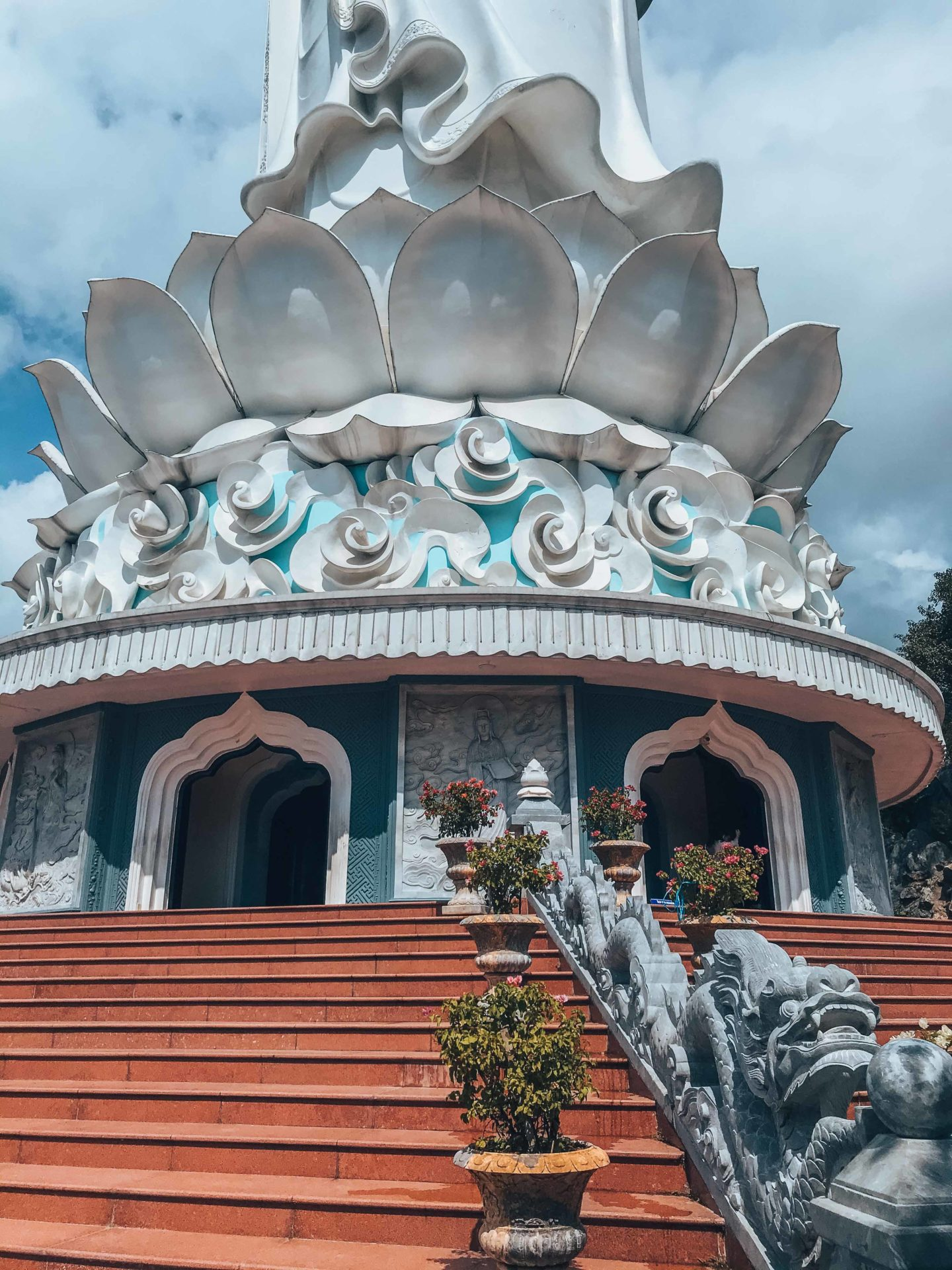 Architecture details of the lotus flower temple Lady Buddha stands on, in Da Nang
