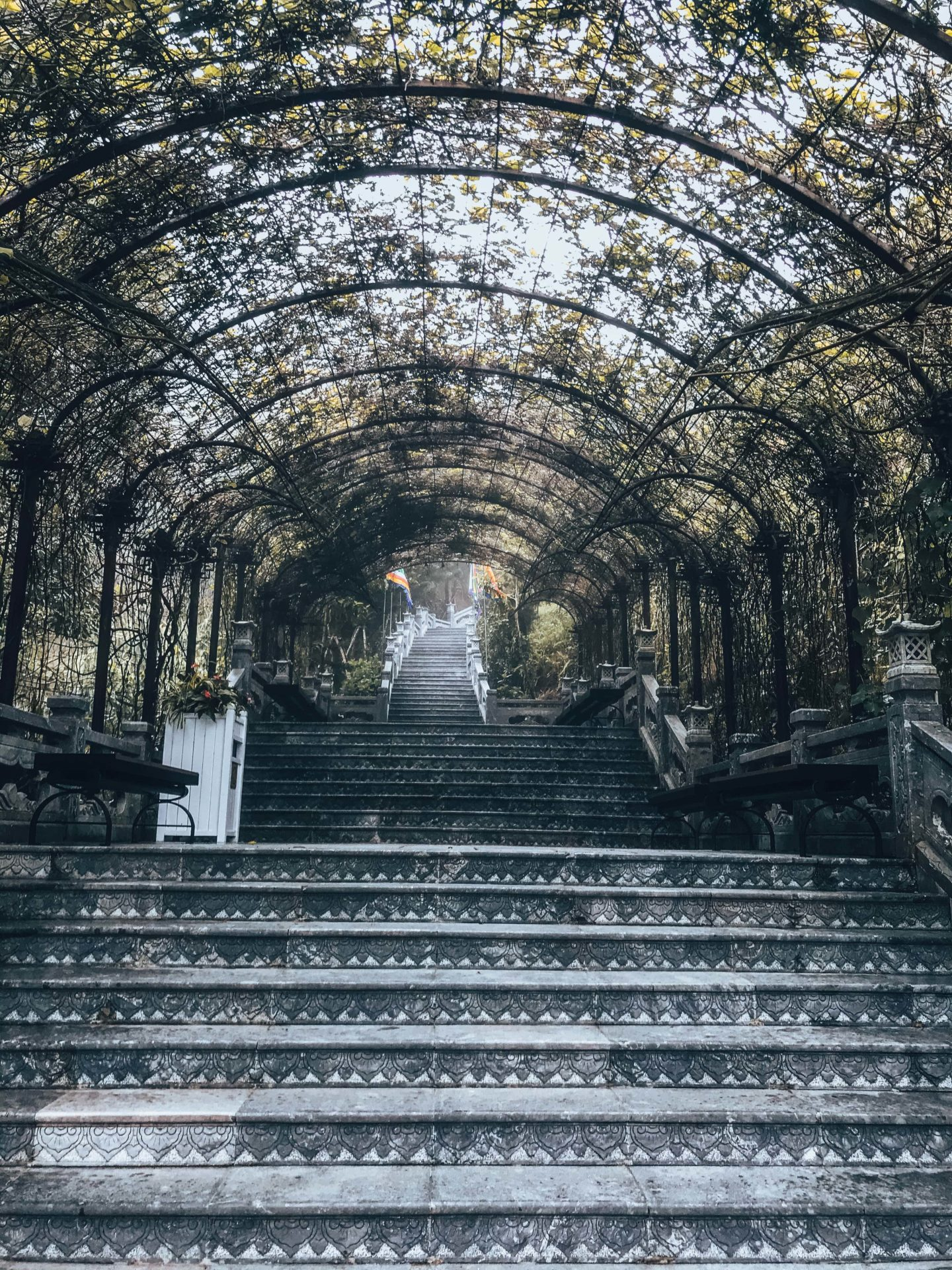 Misty stairs leading to temples in Ba Na Hills Da Nang