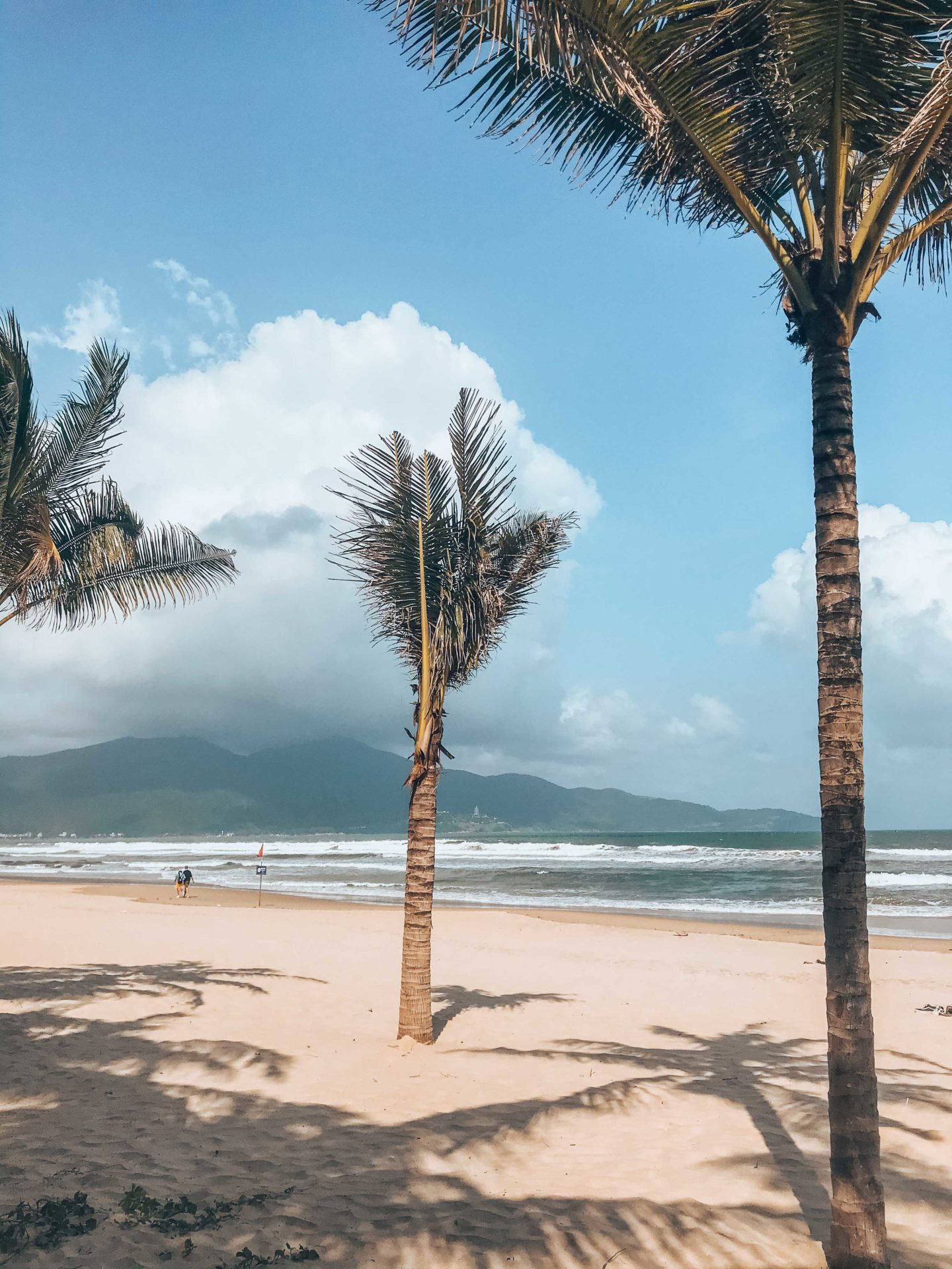 Palm trees on My Khe Beach and views on Lady Buddha, Da Nang