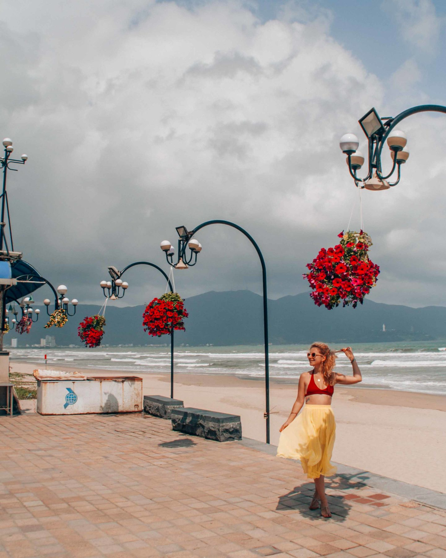 Seaside views and flowers on My Khe Beach, in Da Nang, Vietnam