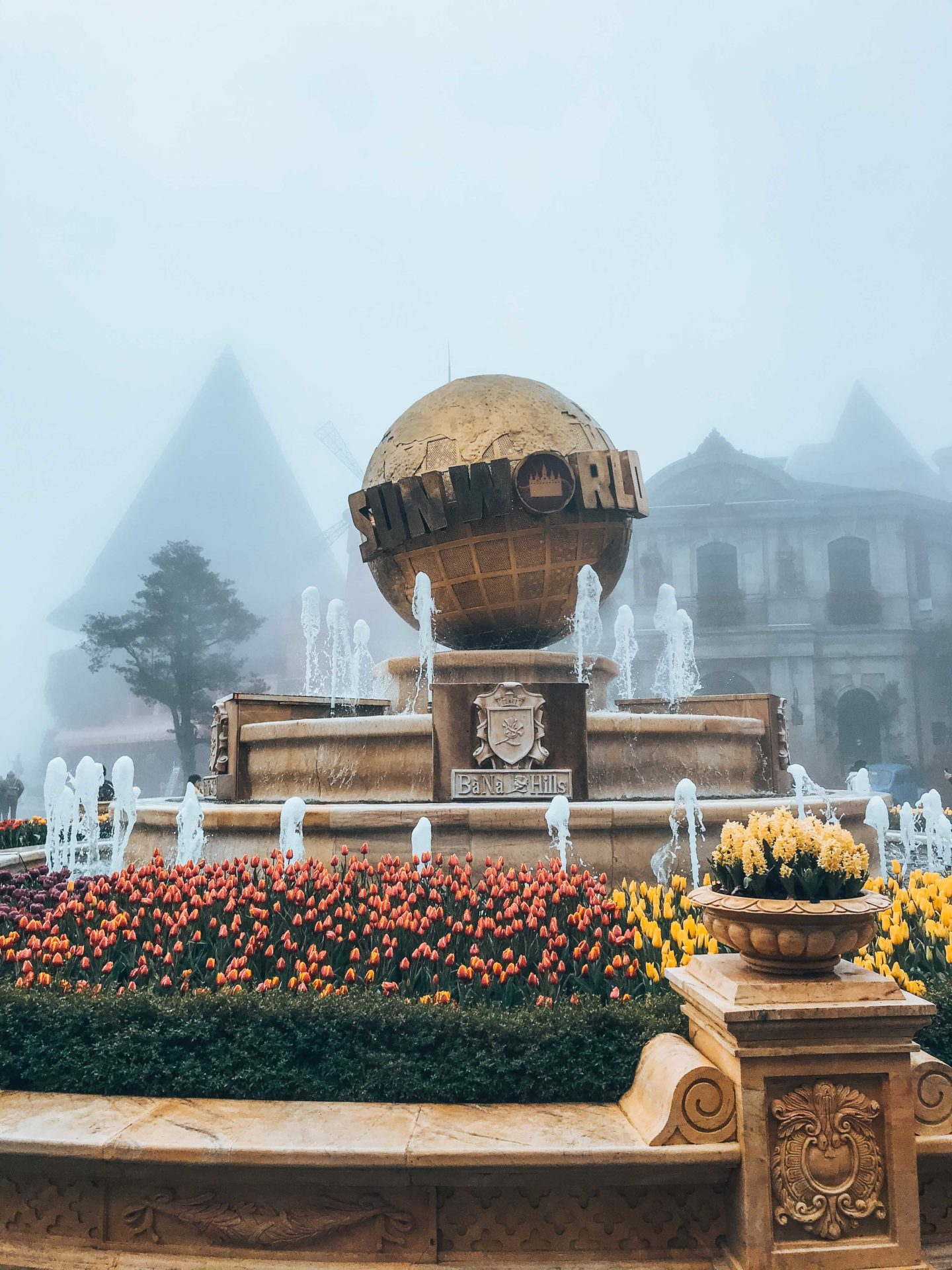 Sun World entrance fountain in the French Village of Ba Na Hills, Da Nang, Vietnam