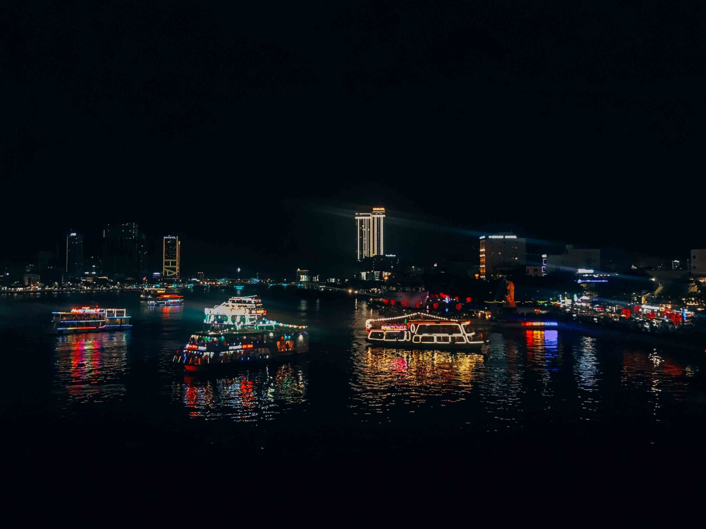 View on Han River from the Dragon Bridge by night, in Da Nang