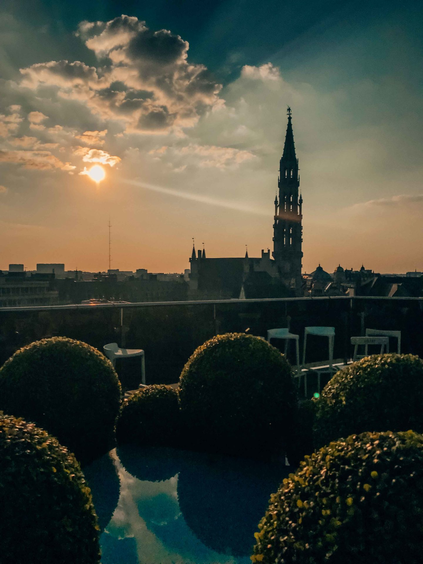View from the Warwick rooftop of Brussels at sunset