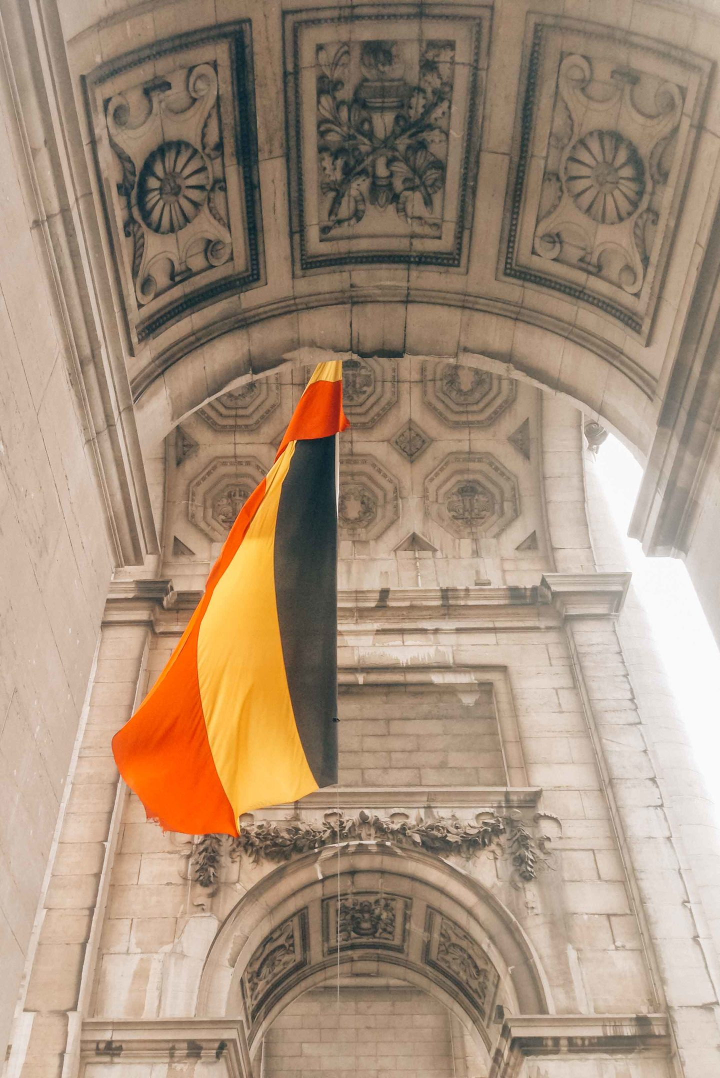 The Belgian flag in Cinquantenaire Park, Brussels
