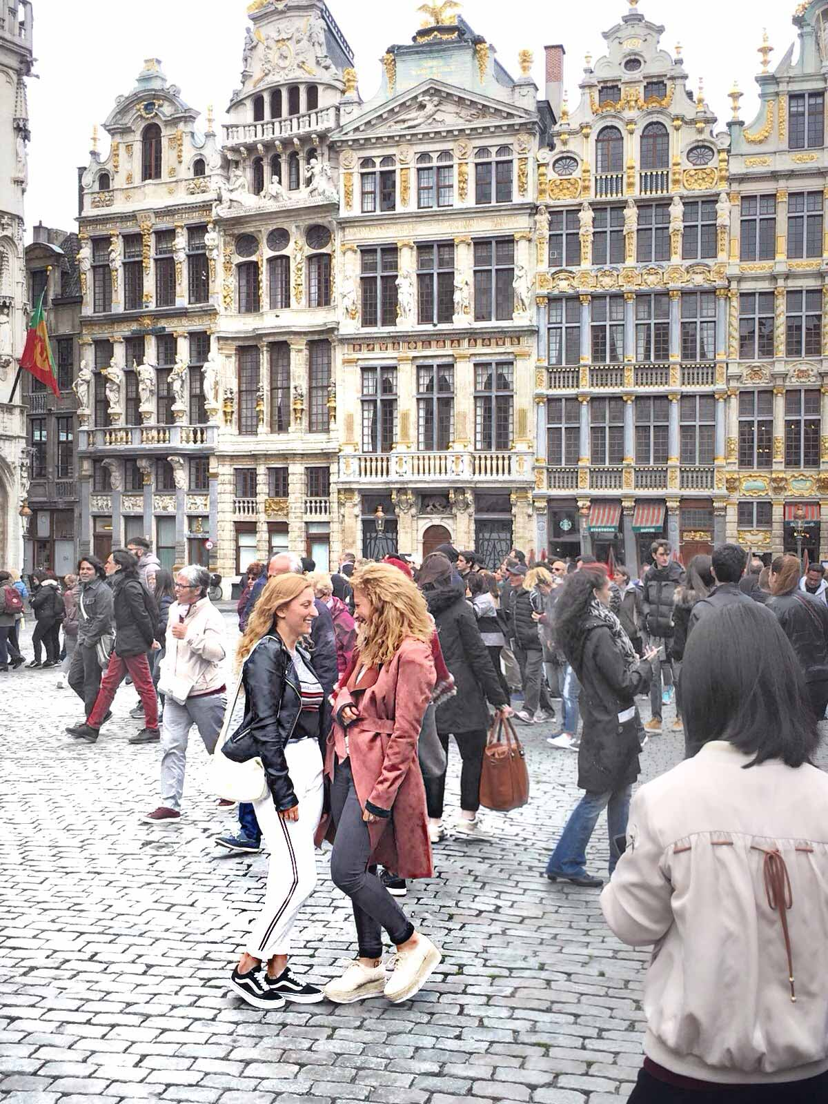 Crowds on the Grand Place of Brussels