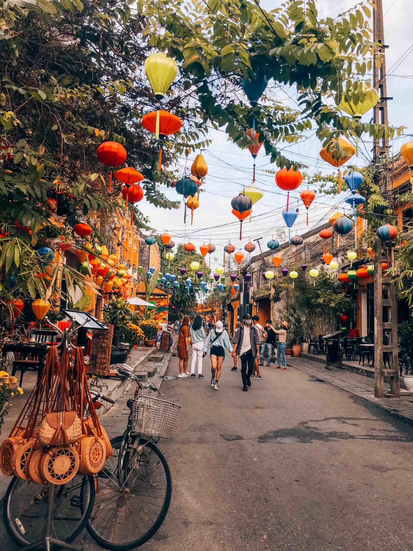 Colorful picturesque streets with lanterns in Hoi An, Vietnam
