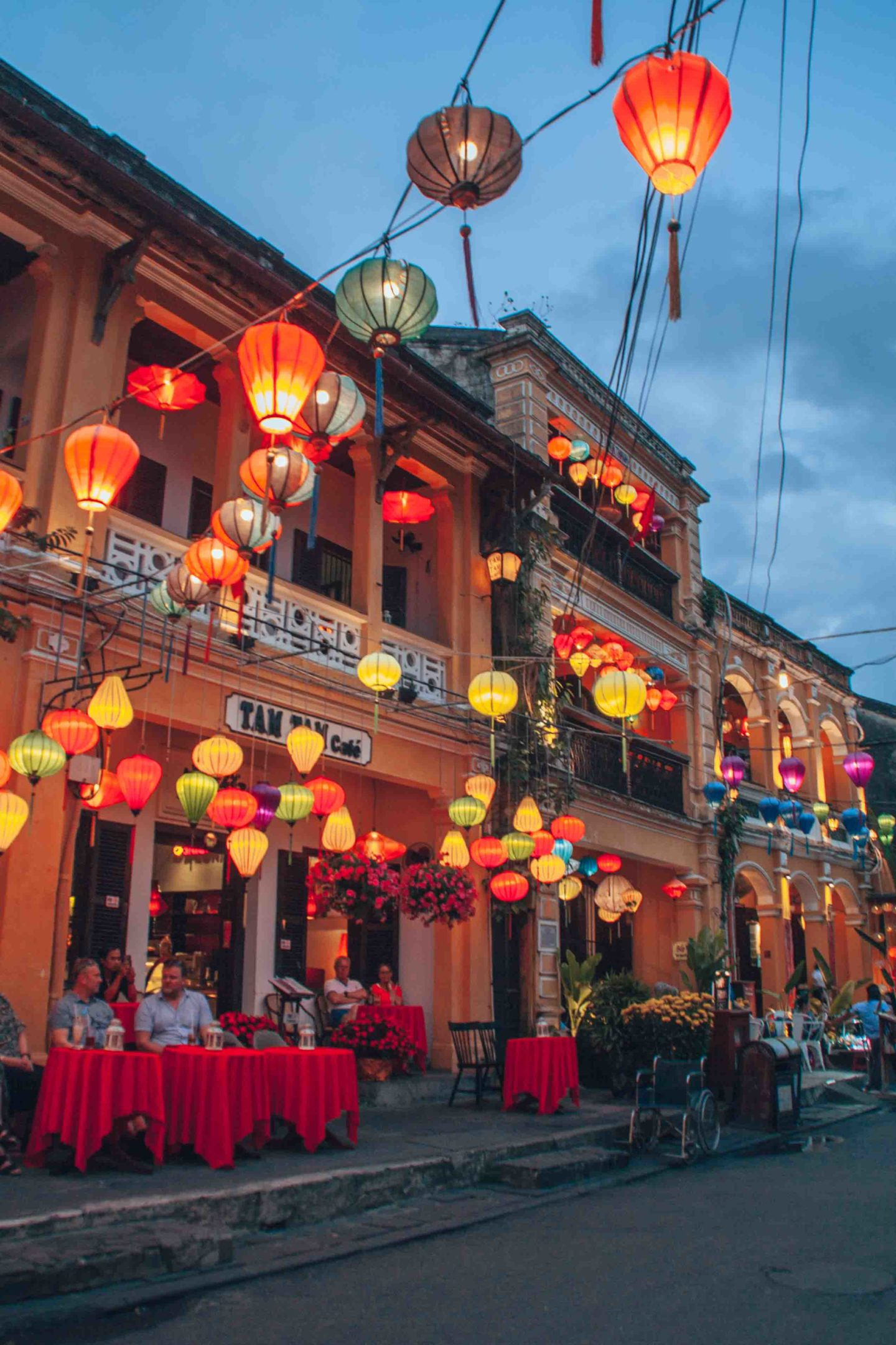 Lanterns illuminations in the streets by night in Hoi An