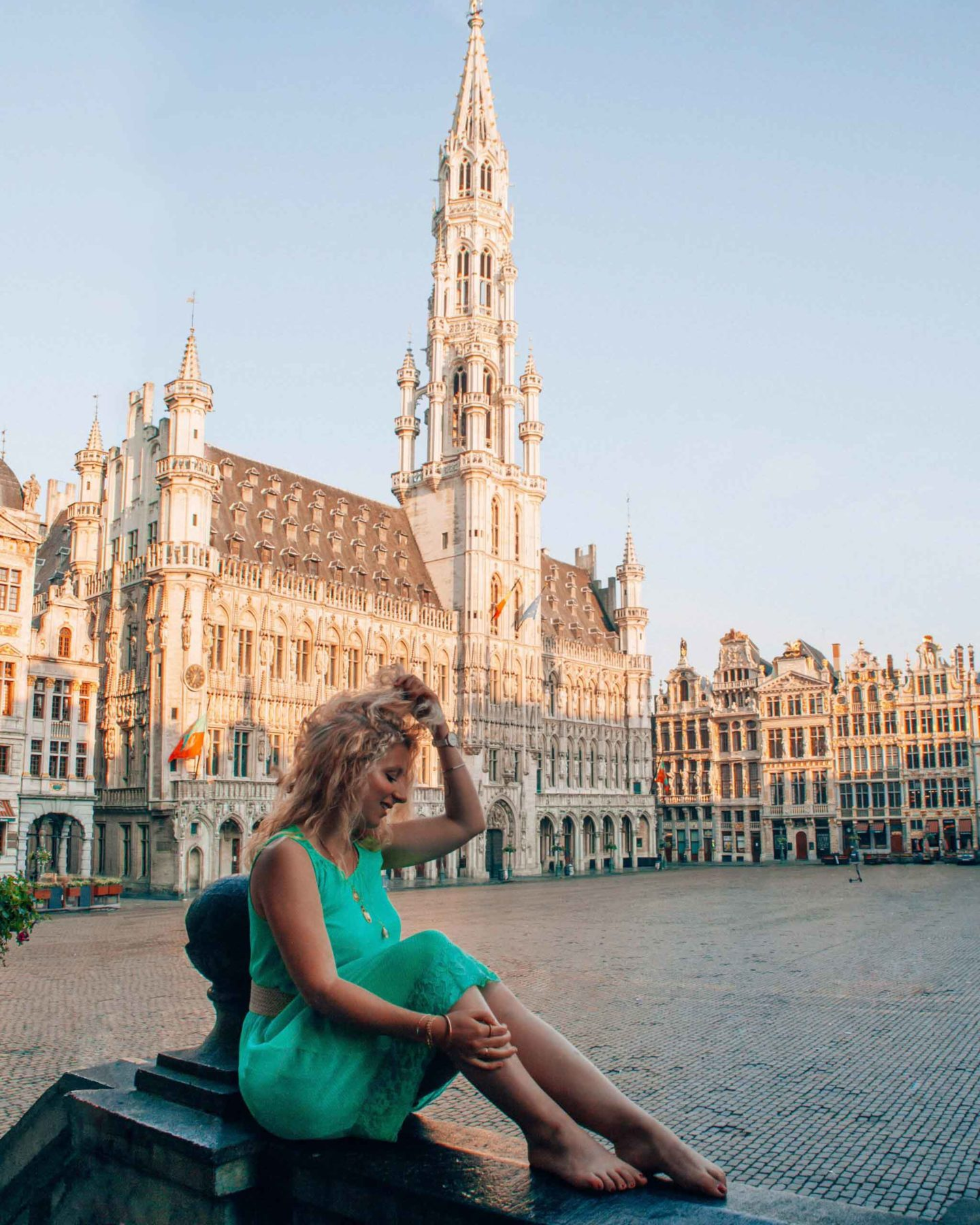 Alone on the Grand Place at sunrise