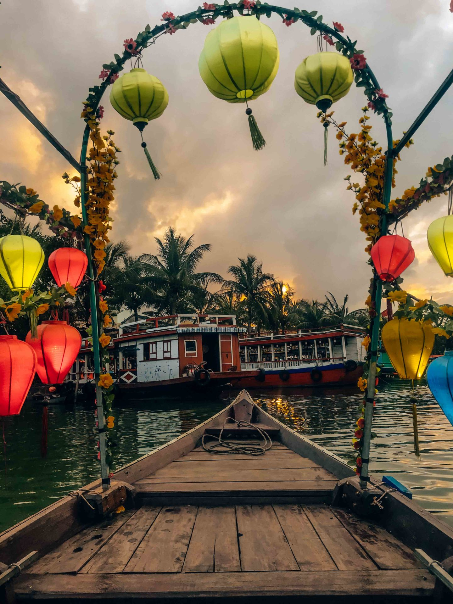 Lantern boat tour during sunset in Hoi An, Vietnam