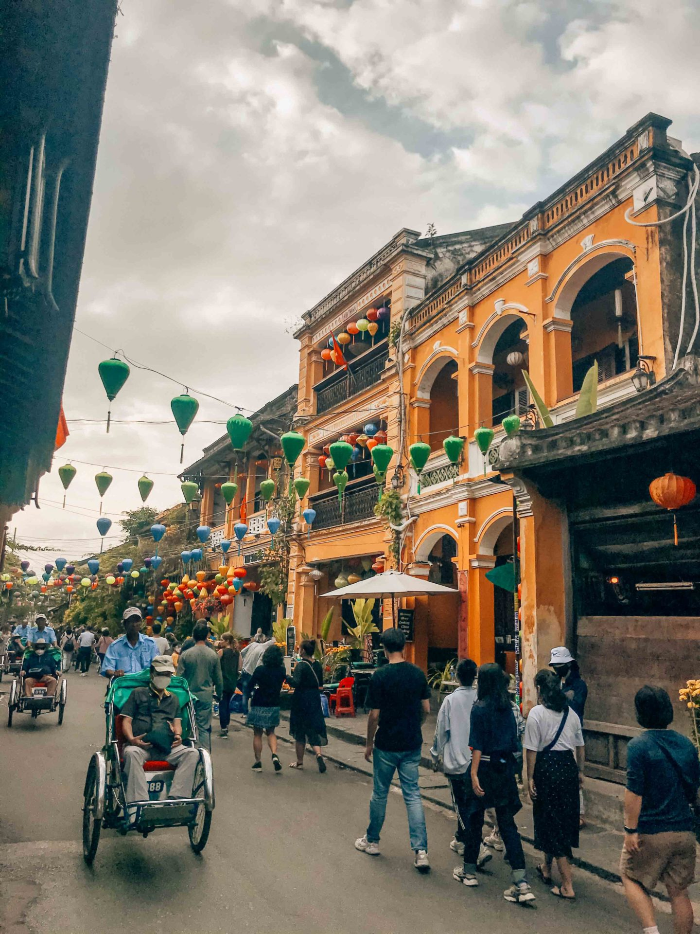 Decorated streets and Tam Tam Cafe with lanterns, Hoi An, Vietnam