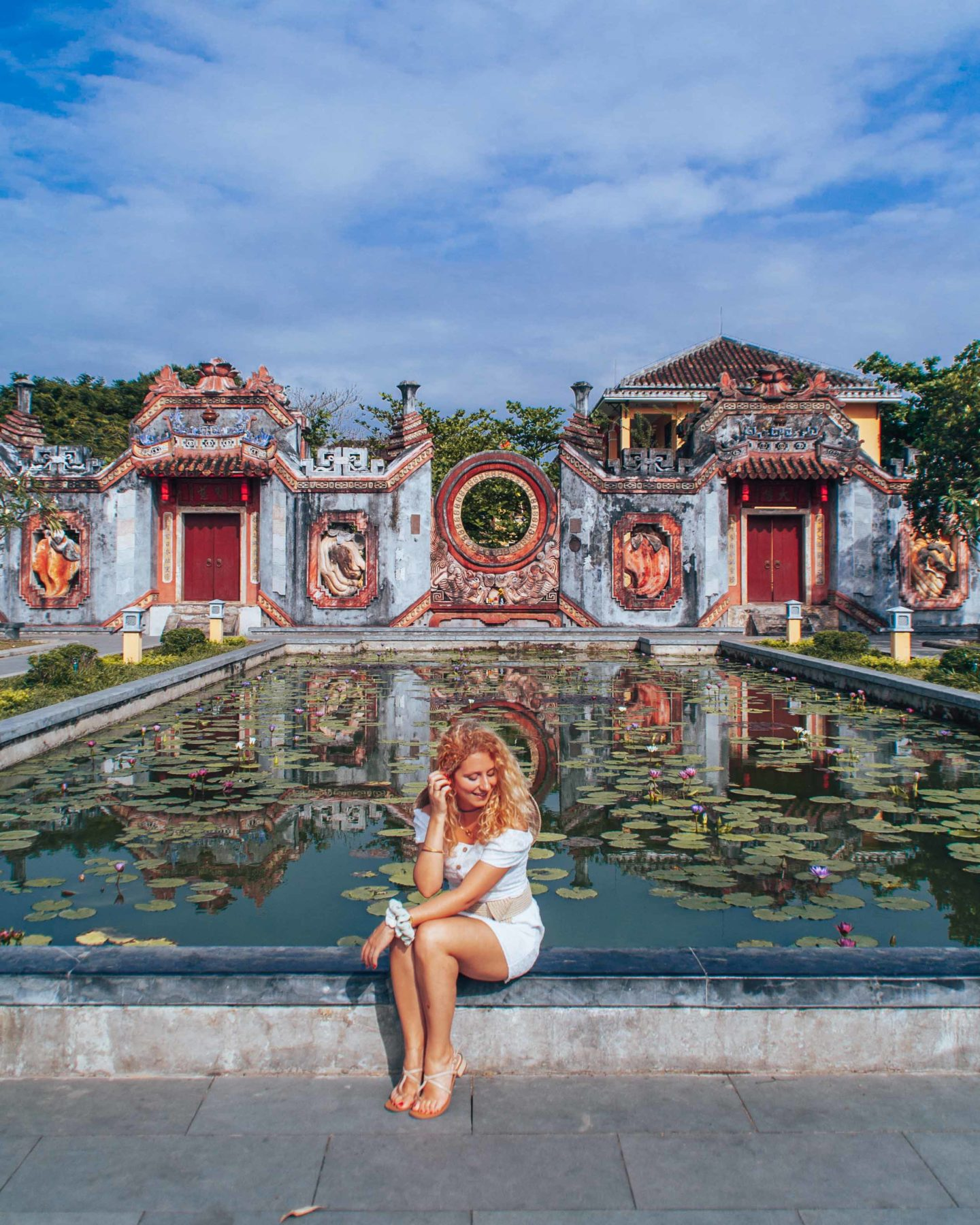 Ba Mu temple gate reflection, historical sightseeing place in Hoi An, Vietnam