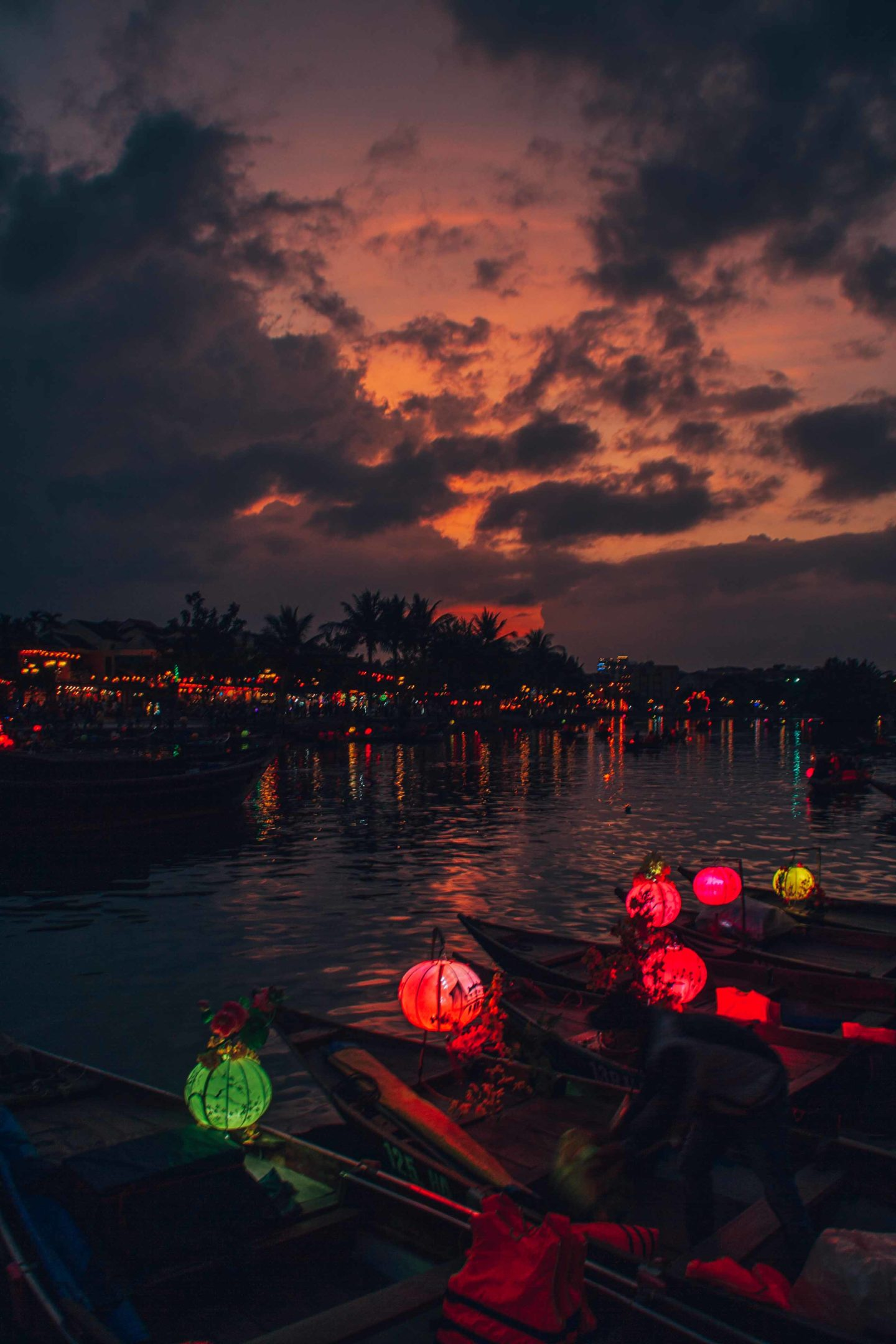 View on Hoi An canal from the bridge of lights