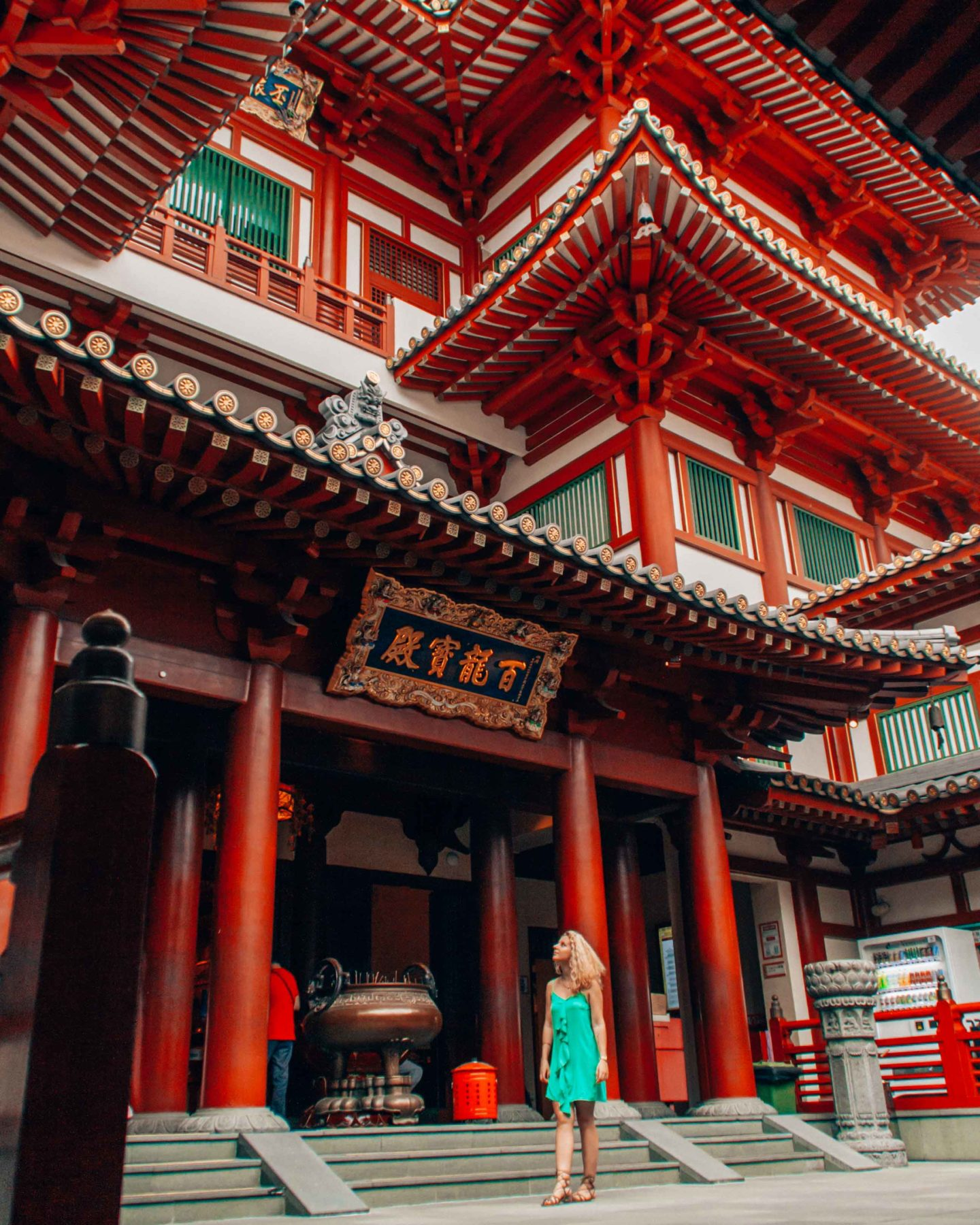 Inside of the Buddha Tooth Relic Temple in Chinatown, Singapore