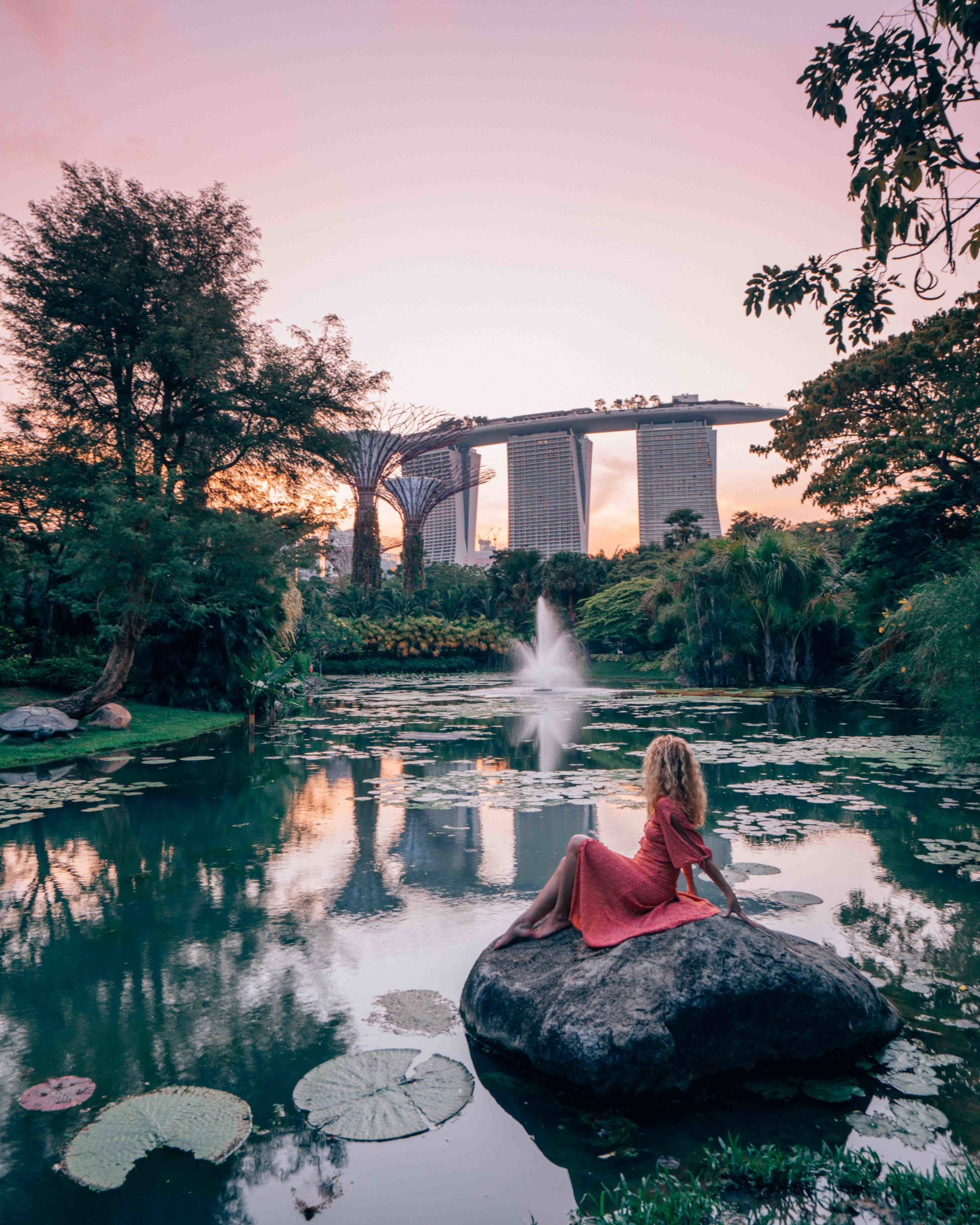 Water lily pond in Gardens by the Bay, insta spot in Singapore