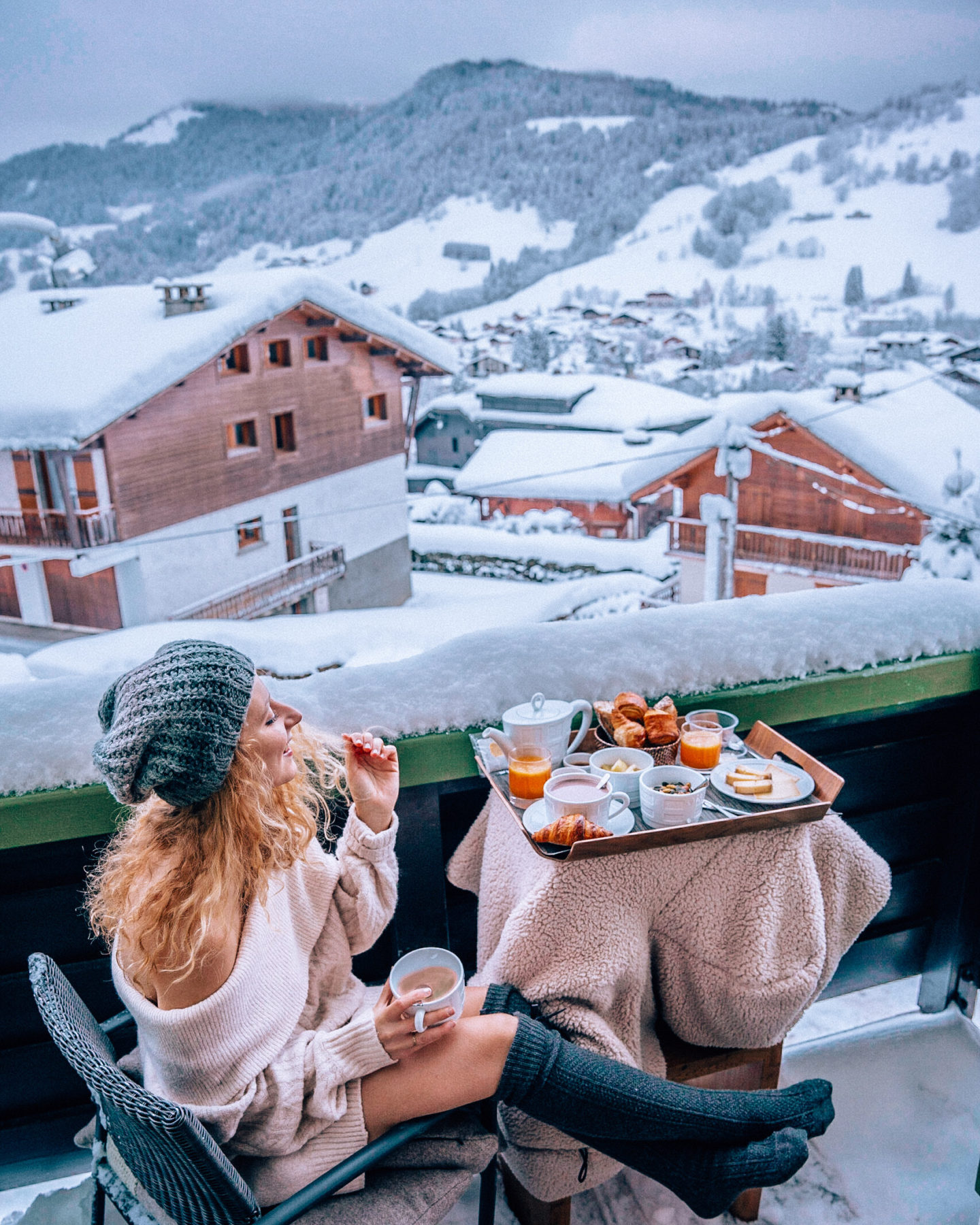 Dreamy breakfast with a mountain view from the hotel balcony