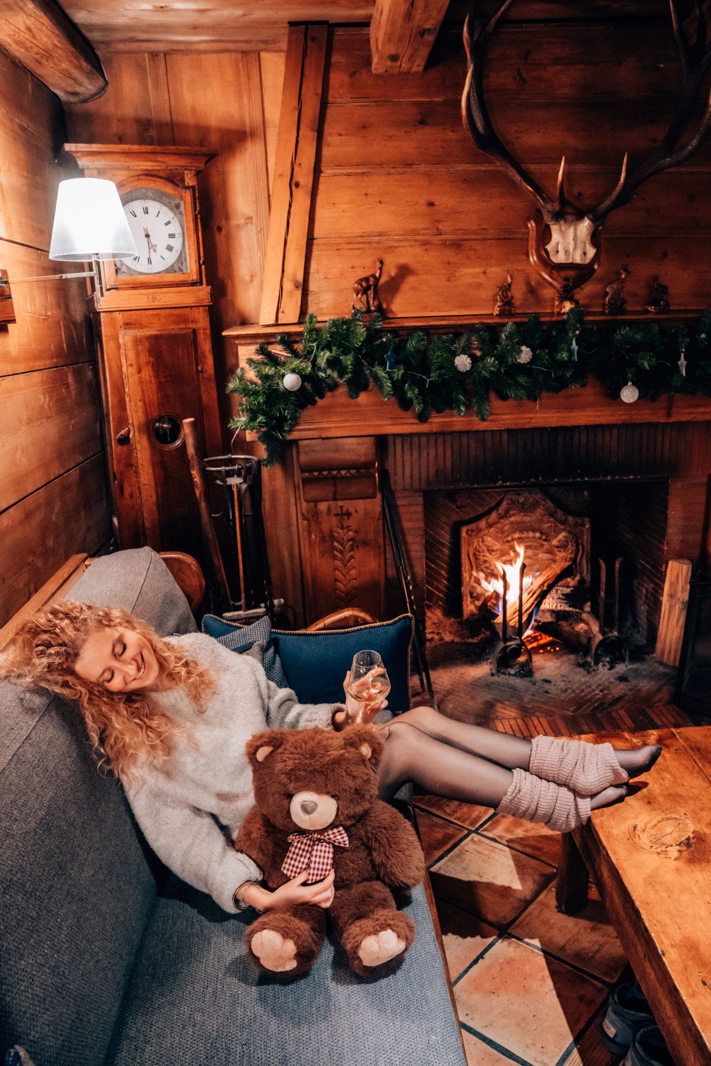 Chimney and wine date in a mountain cabin hotel