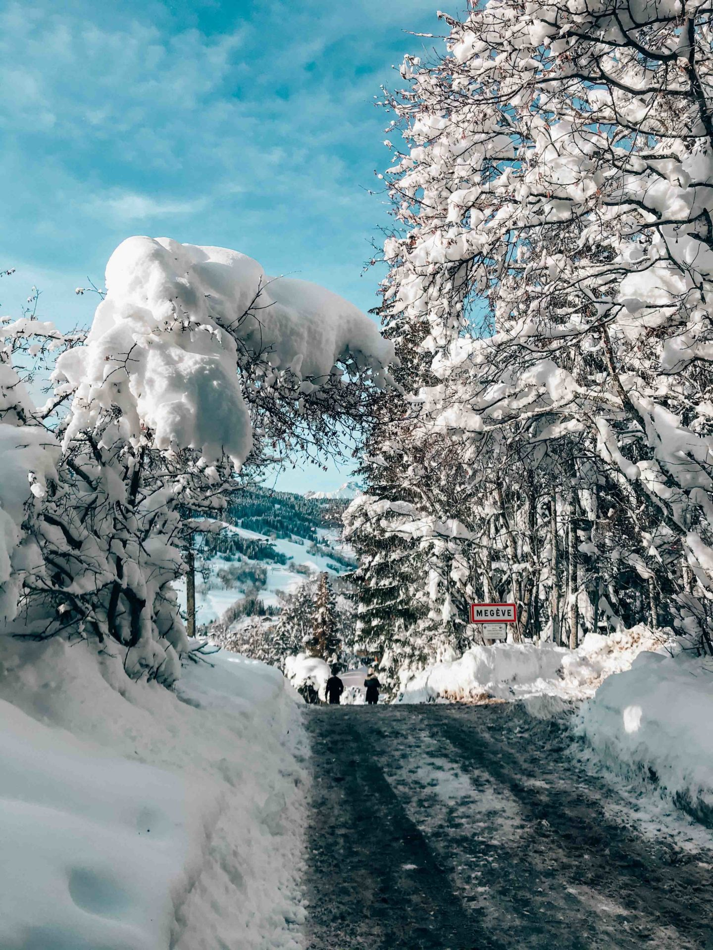 Megeve roads covered in snow