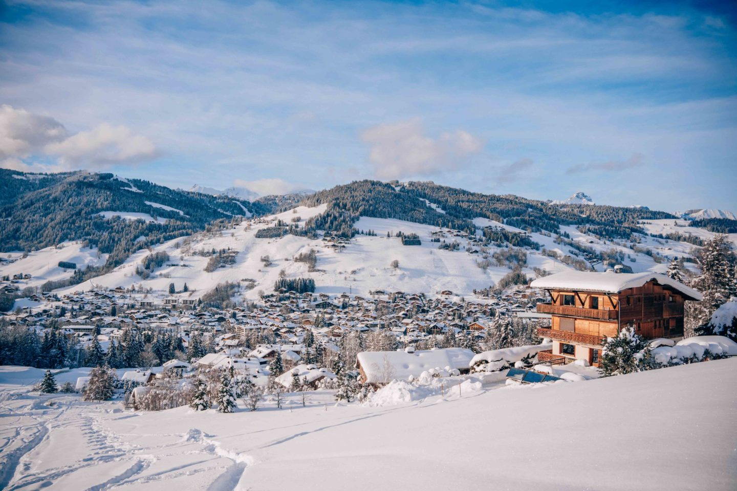 View on Megeve village from the slopes
