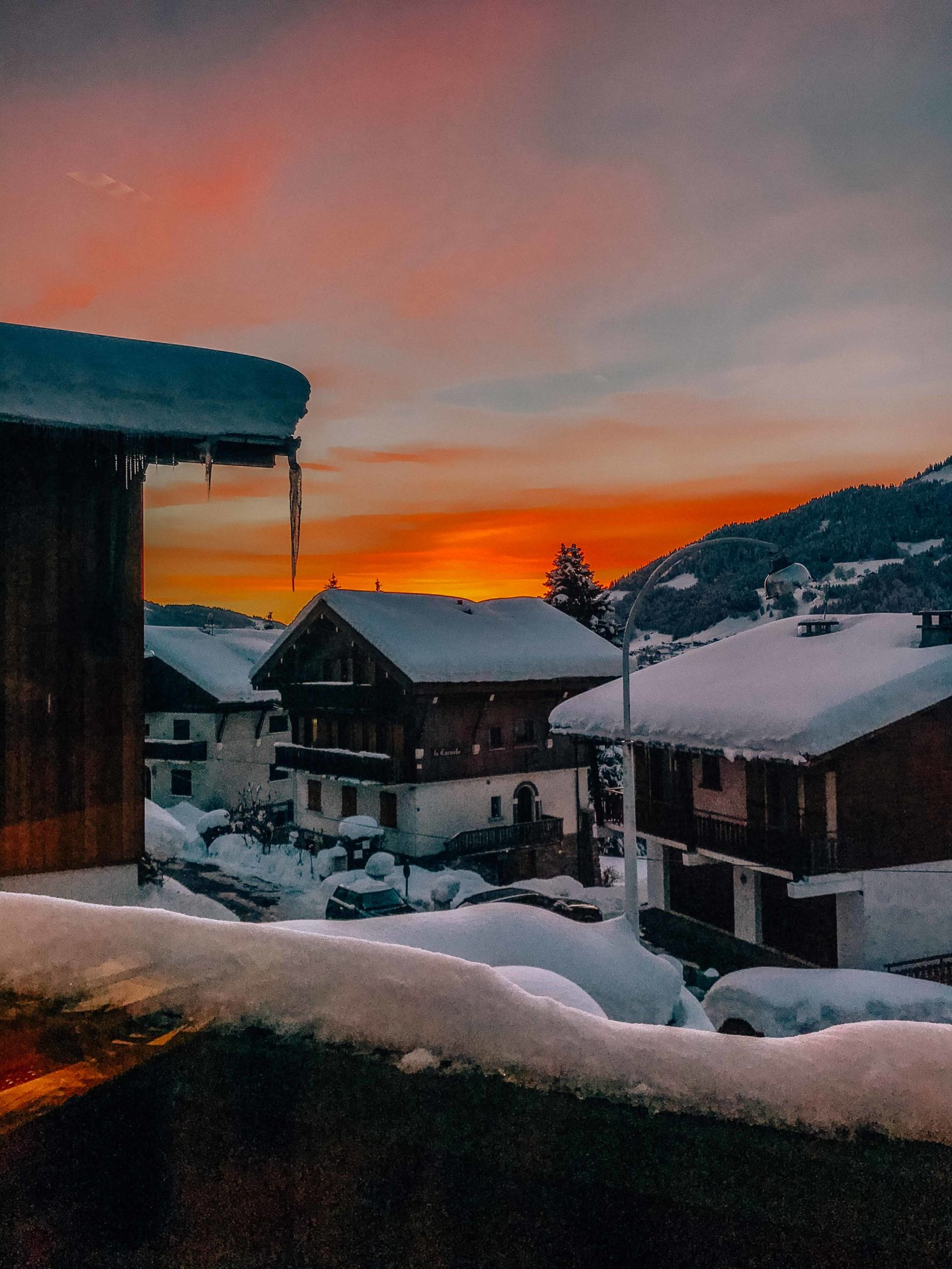 Sunset above the mountains of Megeve