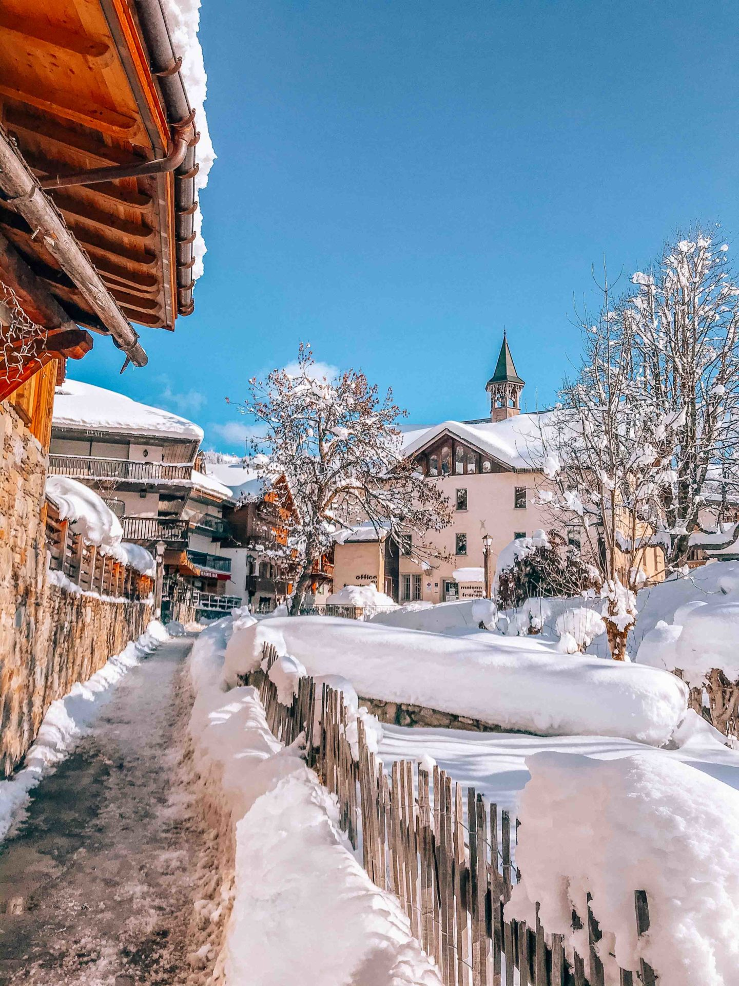 Picturesque streets of Megeve french village